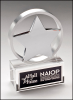 Chrome Plated Star Mounted on Brushed Aluminum Ring with Crystal Base Artistic Awards