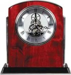 Rosewood Piano Finish Arch Clock with Silver Trim Clocks