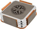 Leatherette Square Coaster Set with Silver Edge -Gray  Coaster Sets