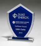 Shield-Shaped Glass Award with Blue Center and Etched Laurel Wreath Glass Awards