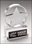 Chrome Plated Star Mounted on Brushed Aluminum Ring with Crystal Base Glass Awards