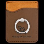 Dark Brown Leatherette Phone Wallet with Ring Leather Awards and Gifts