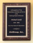 Walnut Stained Piano Finish Plaque with Brass Plate or Gold Plate Recognition Plaques