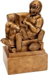 Antique Gold Fantasy Football Man in Chair With Black Oak Base Resin Trophies
