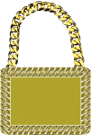 Champ Medal -Bright Gold with Stones Square Rectangle Awards